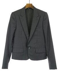 【中古】Dior HOMME ディオールオム 05SS シルバーストライプピークドラペルテーラードジャケット ブラック 44 メンズ