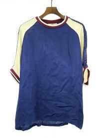 【中古】VOTE MAKE NEW CLOTHES ヴォート メイク ニュー クローズ SATIN SOUVENIOR BIG TEE サテンビッグTシャツ ネイビー M メンズ