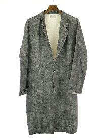 【中古】AUGUSTE-PRESENTATION オーギュストプレゼンテーション Pajama Look #2 ウールコットン2重織ステンカラーコート ブラック M メンズ