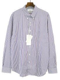 【中古】Graphpaper グラフペーパー 19AW THOMAS MASON L/S B.D Box Shirt ストライプシャツ ホワイト×ブルー×ブラウン 3 メンズ