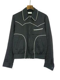 【中古】DRIES VAN NOTEN ドリスヴァンノッテン 18AW ウエスタンパイピングサテンジャケット ブラック 4 メンズ