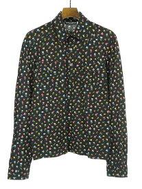 【中古】DOLCE&GABBANA ドルチェ&ガッバーナ フラワープリントサイドポケット長袖ポロシャツ ブラック M メンズ