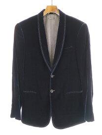 【中古】GIORGIO ARMANI ジョルジオアルマーニ ショールカラーベロアテーラードジャケット ネイビー 48 メンズ