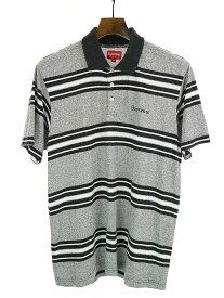 【中古】Supreme シュプリーム 17AW Heather Stripe Polo ボーダーポロシャツ ブラック S メンズ