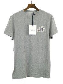 【中古】MONCLER モンクレール 18SS MAGLIA T-SHIRT ダブルロゴワッペンクルーネックTシャツ グレー L メンズ
