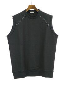 【中古】Dior HOMME ディオールオム 17SS ステープラーノースリーブスウェットTシャツ ブラック L メンズ