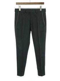 【中古】Dior HOMME ディオールオム 17SS サイドステッチクロップドスラックスウールパンツ ブラック 44 メンズ