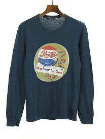 【中古】DOLCE&GABBANA ドルチェ&ガッバーナ 06SS PepsiI-Cola ダメージ加工プリントロングスリーブTシャツ ネイビー 44 メンズ