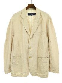 【中古】COMME des GARCONS HOMME コムデギャルソンオム 04SS 製品染めリネンテーラードジャケット ベージュ S メンズ