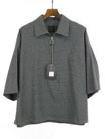【中古】bukht ブフト 19SS グレンチェックハーフジッププルオーバーシャツ グレー 3 メンズ