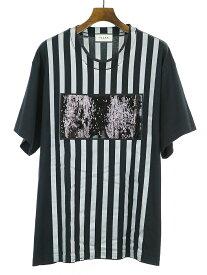 【中古】TaaKK ターク 19SS スパンコールストライプビッグTシャツ ブラック 2 メンズ