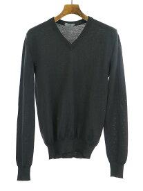 【中古】Dior HOMME ディオールオム BEE刺繍Vネックウールニットセーター ブラック XS メンズ