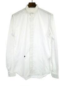 【中古】Dior HOMME ディオールオム BEE刺繍比翼長袖シャツ ホワイト メンズ