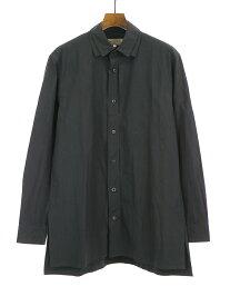 【中古】Yohji Yamamoto POUR HOMME ヨウジヤマモト プール オム 17AW ポリエステルナイロンダブルカラーシャツ ブラック 3 メンズ