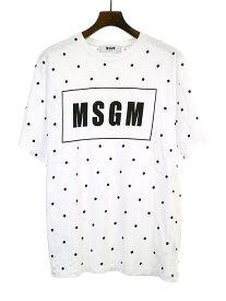 【中古】MSGM エムエスジーエム LHP別注 ドット柄ロゴプリントTシャツ ホワイト S メンズ