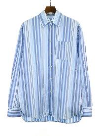 【中古】MARNI マルニ 18AW マルチカラーストライプシャツ サックスブルー 44 メンズ
