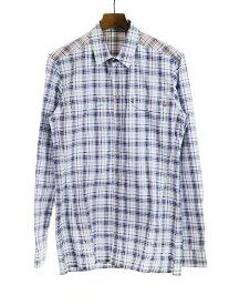 【中古】KRIS VAN ASSCHE クリスヴァンアッシュ チェック柄長袖シャツ ブルー 46 メンズ