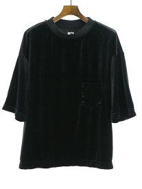 【中古】Sasquatchfabrix. サスクワッチファブリックス 18SS VELOUR POCKET H/S TEE ベロアポケットTシャツ ブラック L メンズ