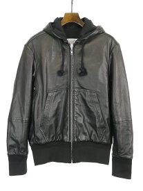 【中古】Maison Martin Margiela10 メゾンマルタンマルジェラ10 19AW ラムレザーリバーシブルフーデッドジャケット ブラック 44 メンズ