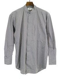 【中古】ISSEY MIYAKE im product イッセイミヤケアイムプロダクト ストライプデザインポケットバンドカラーシャツ グレー M メンズ