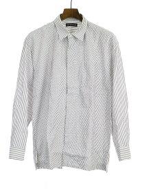 【中古】ISSEY MIYAKE MEN イッセイミヤケ メン フロントプリーツストライプシャツ ホワイト メンズ
