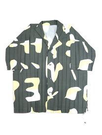 【中古】HOMME PLISSE ISSEY MIYAKE オム プリッセ イッセイ ミヤケ 19SS Edge Print Shirt ショートスリーブプリーツシャツ カーキ 3 メンズ