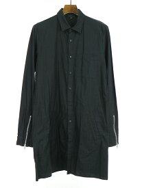 【中古】99%is ナインティナインパーセントイズ 14SS ブロックチェックボーダーコットンロングシャツ ブラック 3 メンズ