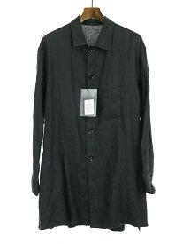 【中古】Yohji Yamamoto POUR HOMME ヨウジヤマモト プールオム 18SS リネンクロストッパーシャツジャケット ブラック 1 メンズ