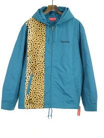 【中古】Supreme シュプリーム 19SS Cheetah Hooded Station Jacket レオパード切替ナイロンジャケット ブルー XL メンズ