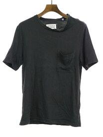 【中古】Maison Martin Margiela10 メゾンマルタンマルジェラ10 07AW コットンレーヨンポケットTシャツ ブラック 50 メンズ