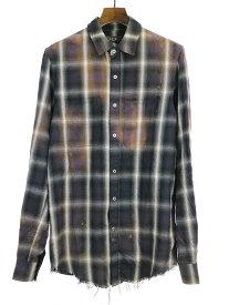 【中古】AMIRI アミリ カットオフフランネルブリーチチェックシャツ ミックス XS メンズ