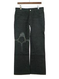 【中古】BACKBONE × BOBSON バックボーン × ボブソン 06AW レザーパッチデザインデニムパンツ ブラック 34 メンズ