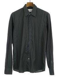 【中古】Maison Martin Margiela10 メゾンマルタンマルジェラ10 08SS トロンプルイユコットンブロードシャツ ブラック 46 メンズ