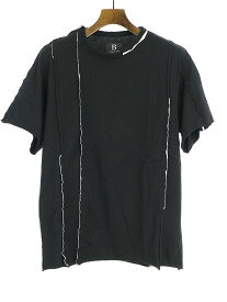 【中古】B Yohji Yamamoto ビー ヨウジヤマモト 18AW カットオフ縦線接ぎTシャツ ブラック 2 メンズ