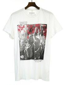 【中古】DIESEL ディーゼル プリントTシャツ ホワイト XL メンズ