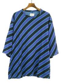 【中古】SHAREEF シャリーフ 18SS バイアスストライプビッグTシャツ パープル 3 メンズ