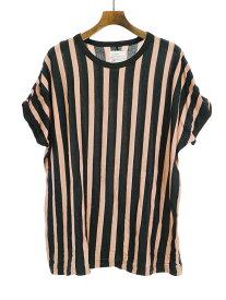 【中古】SHAREEF シャリーフ STRIPE CREW-NECK BIG-T ストライプビッグTシャツ ピンク×ブラック 3 メンズ