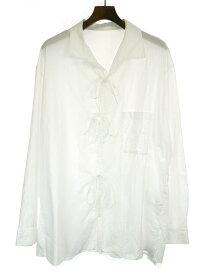 【中古】Yohji Yamamoto POUR HOMME ヨウジヤマモト プールオム 19SS コットンローンリボンシャツ ホワイト 3 メンズ