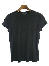 【中古】GIORGIO ARMANI ジョルジオアルマーニ クルーネックストレッチシルクTシャツ ブラック 46 メンズ