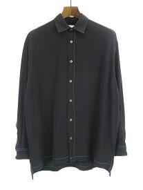 【中古】STUDIOUS ステュディオス カラーステッチオーバーシャツ ブラック 1 メンズ