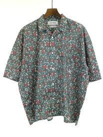 【中古】DISCOVERED ディスカバード 19AW THOMAS MASON社生地 Flower shirt フラワーパターンショートスリーブシャツ グリーン メンズ