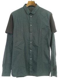 【中古】KRIS VAN ASSCHE クリスヴァンアッシュ 13SS ショルダーデザインレイヤードシャツ カーキ 48 メンズ