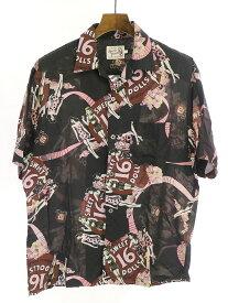 【中古】HYSTERIC GLAMOUR ヒステリックグラマー 20SS SWEET 16 DOLLS柄 オープンカラーシャツ ブラック L メンズ