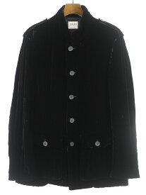 【中古】ARMANI COLLEZIONI アルマーニ コレツィオーニ シルクブレンドベルベットキルティングジャケット ブラック 52 メンズ