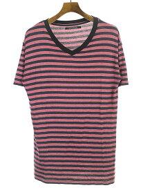 【中古】MOON AGE DEVILMENT ムーンエイジデビルメント VネックボーダーTシャツ レッド 44 メンズ