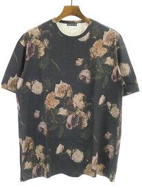 【中古】LAD MUSICIAN ラッドミュージシャン 17SS ローズプリントビッグTシャツ ブラック 42 メンズ