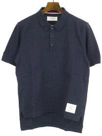 【中古】THOM BROWNE トムブラウン 13SS スリットデザインポロシャツ ネイビー 2 メンズ