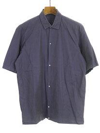 【中古】LANVIN ランバン 08SS ランウェイ着 ギャザーショートスリーブシャツ ネイビー 37 メンズ