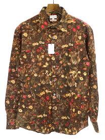 【中古】Paul Smith ポールスミス 子花柄 ウールシャツ ブラウン L メンズ