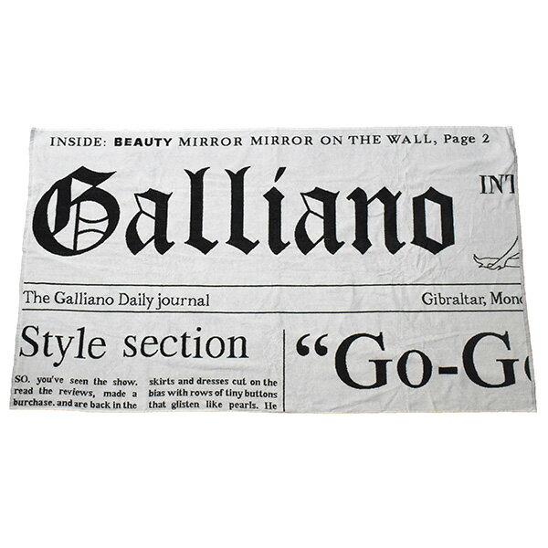 【中古】John Galliano ジョンガリアーノ BEACH WEAR ビーチタオルケット ブラック×ホワイト